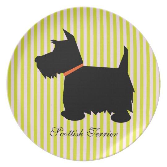 Scottish Terrier dog green & pink stripes plate
