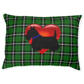 Scottish Terrier dog, green plaid, heart, blue Pet Bed