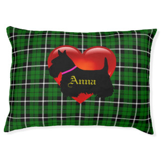 Scottish Terrier dog, green plaid, heart, pink Pet Bed