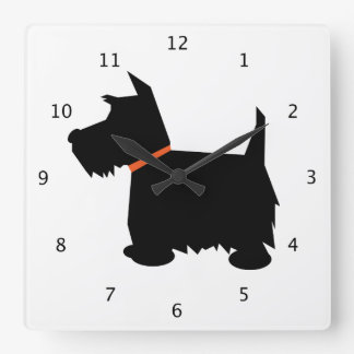 Scottish Terrier dog, scottie black silhouette Clock