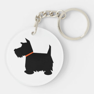 Scottish Terrier dog, scottie black silhouette Double-Sided Round Acrylic Key Ring