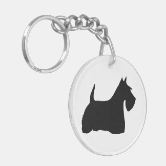 Scottish Terrier dog, scottie black silhouette Double-Sided Round Acrylic Key Ring
