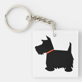 Scottish Terrier dog, scottie black silhouette Double-Sided Square Acrylic Key Ring