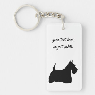 Scottish Terrier dog, scottie black silhouette Double-Sided Rectangular Acrylic Keychain