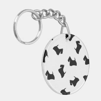 Scottish Terrier dog, scottie black silhouette Key Ring