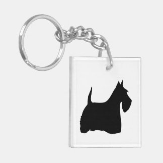 Scottish Terrier dog, scottie black silhouette Double-Sided Square Acrylic Keychain