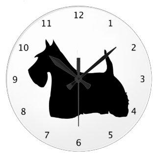 Scottish Terrier dog, scottie black silhouette Large Clock