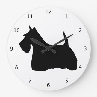 Scottish Terrier dog, scottie black silhouette Wall Clock