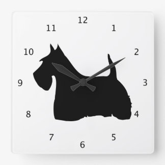 Scottish Terrier dog, scottie black silhouette Wallclock