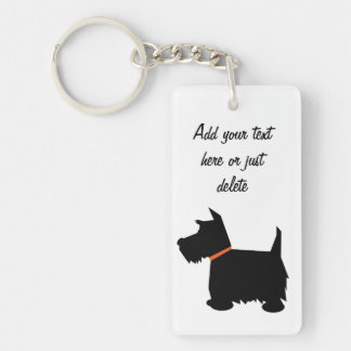 Scottish Terrier dog, scottie silhouette custom Double-Sided Rectangular Acrylic Key Ring