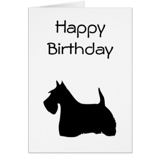 Scottish Terrier dog silhouette birthday card