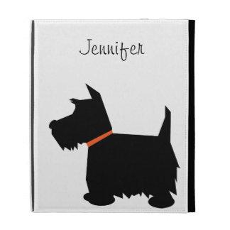 Scottish Terrier dog silhouette custom girls name iPad Folio Covers