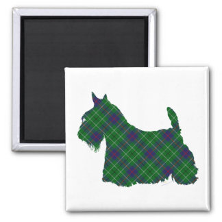 Scottish Terrier Duncan Tartan Square Magnet
