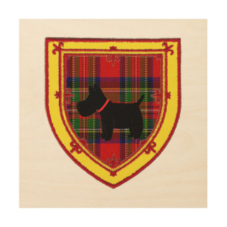 Scottish Terrier Emblem v6 Wood Print
