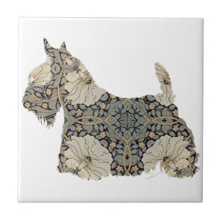 Scottish Terrier Fun Silhouette Tile