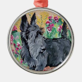 Scottish Terrier Garden Silver-Colored Round Decoration