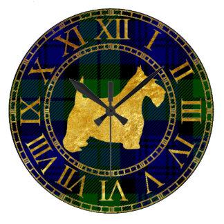 Scottish Terrier Gold and Plaid Wallclock