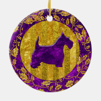 Scottish Terrier Gold Purple Christmas Ornament