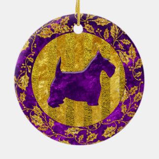 Scottish Terrier Gold Purple Round Ceramic Decoration