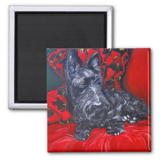 Scottish Terrier Haggis Square Magnet