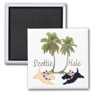 Scottish Terrier Hawaiian Design Square Magnet