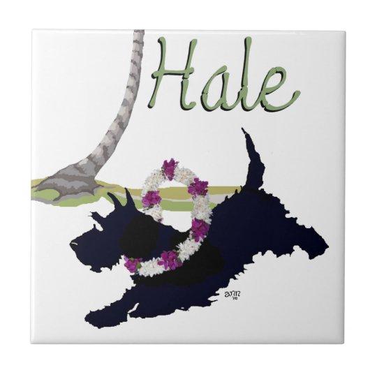 Scottish Terrier Hawaiian Design Small Square Tile