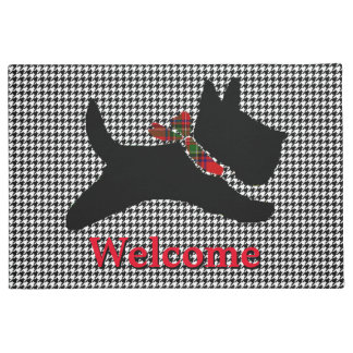 Scottish Terrier Houndstooth Personalize Doormat