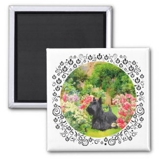 Scottish Terrier in a Garden Square Magnet