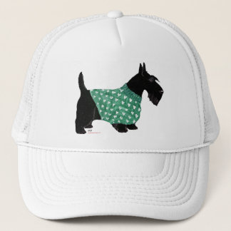 Scottish Terrier in a Sweater Trucker Hat