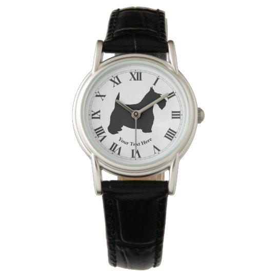 Scottish Terrier in Black Personalise Wrist Watches