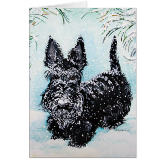 Scottish Terrier in Falling Snow Greeting Card