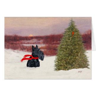 Scottish Terrier in Wintertime Card