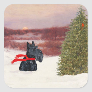 Scottish Terrier in Wintertime Square Sticker