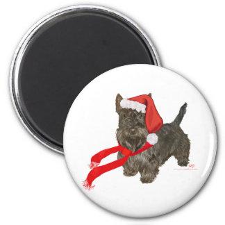 Scottish Terrier is Santa's Helper 6 Cm Round Magnet
