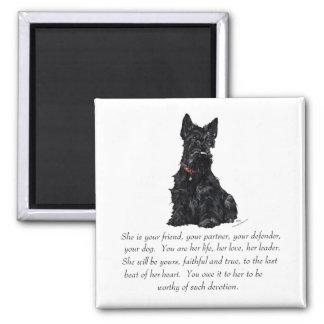 Scottish Terrier Keepsake - FEMALE Square Magnet