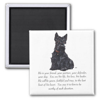 Scottish Terrier Keepsake - MALE Dog Square Magnet