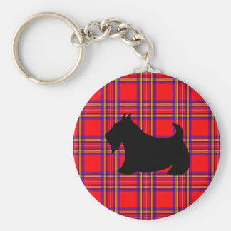Scottish Terrier Keyring Basic Round Button Key Ring