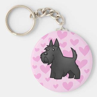 Scottish Terrier Love Basic Round Button Key Ring