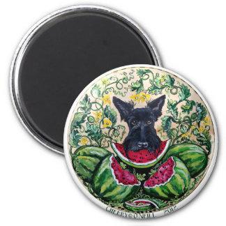 Scottish Terrier Melons 6 Cm Round Magnet