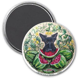 Scottish Terrier Melons 7.5 Cm Round Magnet