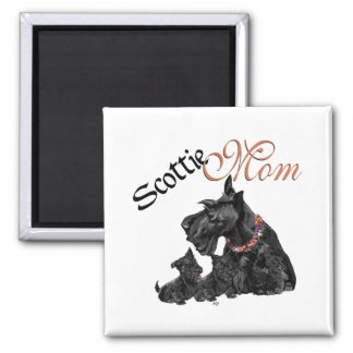 Scottish Terrier Mom & Pups for Mother's Day Square Magnet