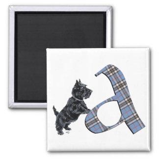 Scottish Terrier Monogram A Square Magnet