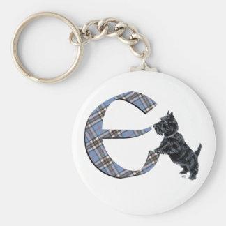 Scottish Terrier Monogram E Basic Round Button Key Ring