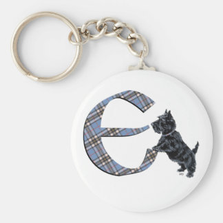 Scottish Terrier Monogram E Key Ring