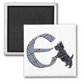 Scottish Terrier Monogram E Square Magnet