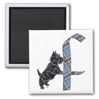 Scottish Terrier Monogram F Square Magnet