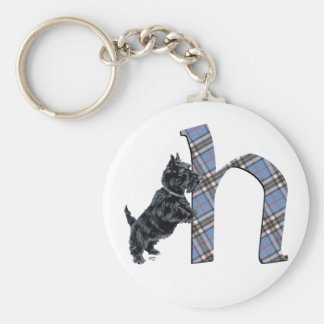 Scottish Terrier Monogram H Basic Round Button Key Ring