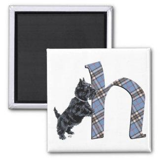 Scottish Terrier Monogram H Square Magnet