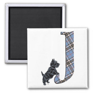 Scottish Terrier Monogram J Square Magnet