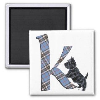 Scottish Terrier Monogram K Magnet